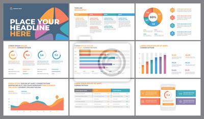 Projekt szablonu prezentacji. Wykresy danych biznesowych. Wektorowe wykresy finansowe i marketingowe.