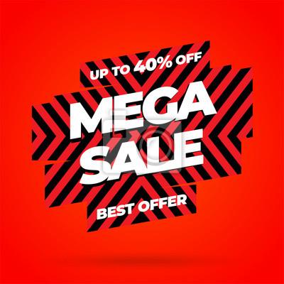 Projekt szablonu transparent czerwony sprzedaż, oferta specjalna Mega sprzedaż. Baner ze specjalną ofertą na koniec sezonu. Ilustracji wektorowych.