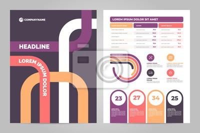 Projekt szablonu ulotki firmy. Wykresy danych. Wektorowe wykresy finansowe i marketingowe.