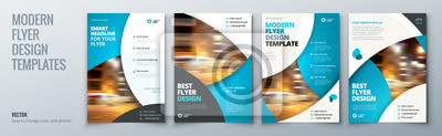 Obraz Projekt szablonu ulotki. Ulotka biznesowa, broszura, czasopismo lub flecista mockup w jasnych kolorach. Wektor