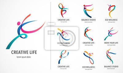 Obraz Projektowanie logo streszczenie ludzi. Siłownia, fitness, prowadzenie kolorowe logo wektor trener. Aktywna fitness, sport, ikona tańca i symbol
