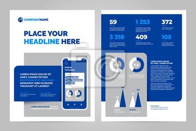 Projektowanie szablonu układu za pomocą aplikacji mobilnej. Biznes broszura projekt układ ulotki.