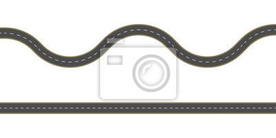 Obraz Prosta i kręta droga. Szablon bez szwu drogi asfaltowej. Tło autostrady lub jezdni. Ilustracji wektorowych.