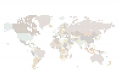 Obraz Przerywana Mapa świata kwadratowych kropek