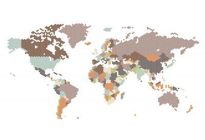 Obraz Przerywana Mapa świata sześciokątnych kropek