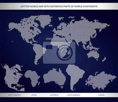 Przerywana Mapa świata z wydzielonych częściach świata kontynentach