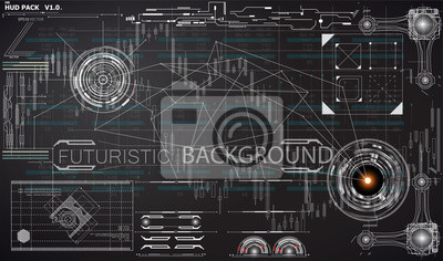 Przestrzeń kosmiczna w interfejsie HUD UI. elementy plansza. futurystyczny interfejs użytkownika. Nauka wektorowa Wieloboczne tło. Czarno-białe elementy infographic. futurystyczny interfejs użytkownik