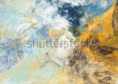 Obraz Przesunąć piękny niebieski i żółty miękki kolor tła. Dynamiczna tekstura malowania. Nowoczesny futurystyczny wzór. Fraktalna grafika do kreatywnego przetwarzania graficznego