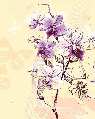 Obraz przetargu gałązka kwitnących storczyków na jasnym tle z masłem