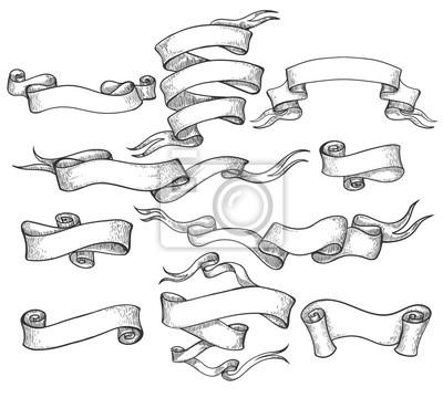Obraz Przewiń szkic. Vintage ręcznie rysowane baner i naszkicowanych wirować wstążki wektorowych ilustracji