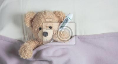 Obraz Przeziębienie, grypa lub alergia. Śliczne body w łóżku, przykryte ciepłym kocem, trzymające chusteczkę