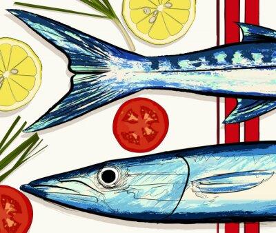 Obraz Przygotowanie do gotowania ryb