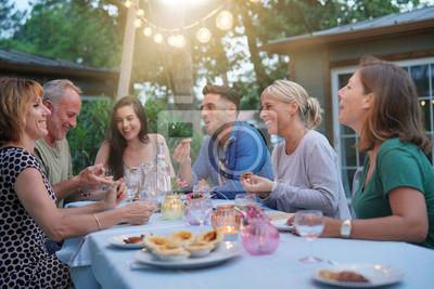 Obraz Przyjaciele cieszą się letni obiad z grilla w ogrodzie