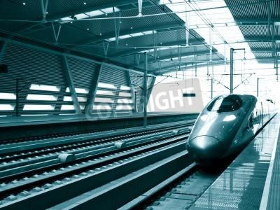 Obraz Przystanek szybkiego pociągu na stacji, Beijing South Railway Station, Chiny