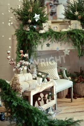 Przytulnie Urządzony Pokój świąteczne Dekoracje Rustykalny Kominek Obrazy Redro