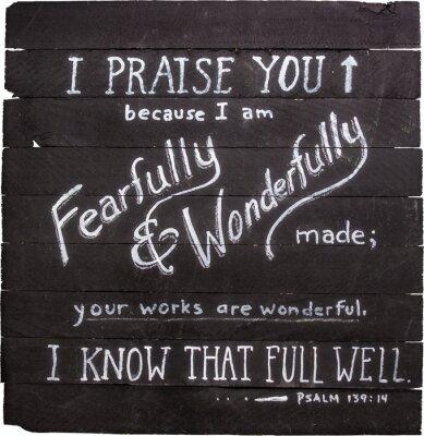 Obraz Psalm 139: 14 ręcznie malowane płótno na drewnianej podkładce