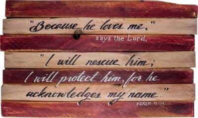 Obraz Psalm 91:14 ręcznie malowane na płótnie drewniane podkładki