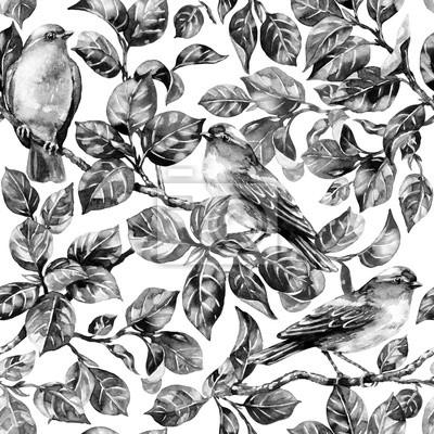 Ptak śpiewający na gałęzi monochromatyczne wzór