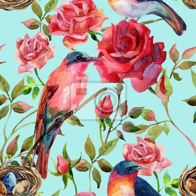 ptaki akwarela na różowych i czerwonych róż