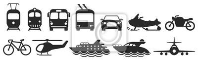 Obraz Public transport icons set. Vector