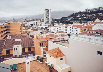 Puerto de la Cruz on a cloudy day, color toning applied, Tenerife, Canary Islands, Spain.