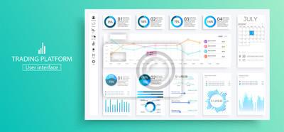 Pulpit nawigacyjny Infographic. Interfejs panelu administracyjnego z zielonymi wykresami, wykresami i diagramami. Strona internetowa projekta szablonu wektorowy wykres i diagram infographic, wektorowa