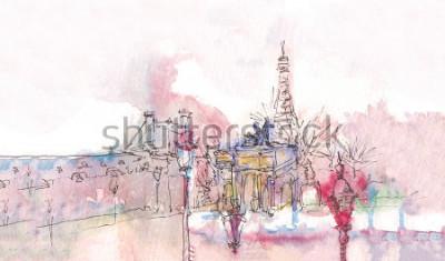 Obraz Punkt orientacyjny Paryża z akwarelą w deszczowy dzień - stary widok muzeum z wieżą Eiffla w tle. Akwarela szyk. Panorama paryska. Paryska akwarela panorama. Elegancki krajobraz