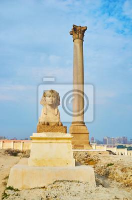 Punkty orientacyjne Amoud Al Sawari archeologiczny miejsce, Aleksandria, Egipt