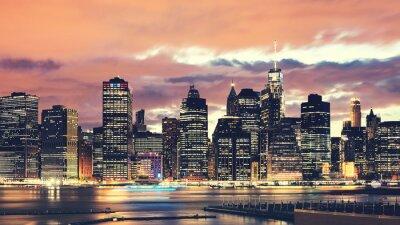 Obraz Purple sunset over Manhattan, color toning applied, New York City, USA.
