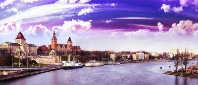 Purple sunset over Szczecin (Stettin) City, Poland.