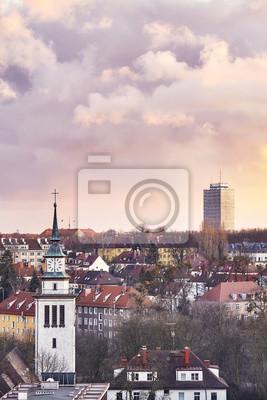 Purpurowy zmierzch nad Szczecińskim miastem, Polska