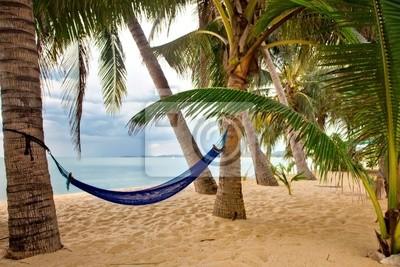 pusta piaszczysta plaża z jakiejś palmy i hamak w złej weathe