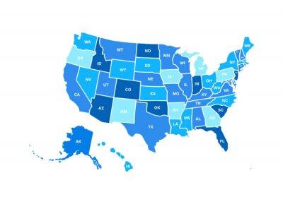 Obraz Pusta podobna mapa USA na białym tle. Stany Zjednoczone USA kraj. Szablon wektor usa na stronie internetowej, projekt, okładka, infografiki. Ilustracja wykresu.