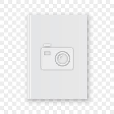 Obraz Puste biały pionowy szablon okładki książki. Wektor pusty makieta modelu okładki książki na przezroczystym tle