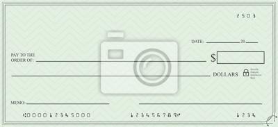 Obraz Puste czek z otwartą przestrzeń dla tekstu