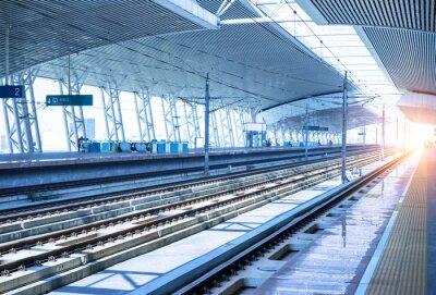 Obraz puste kolejowe platformy tła