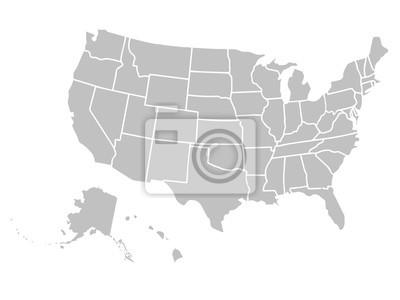 Obraz Puste podobna USA Mapa samodzielnie na białym tle. Stany Zjednoczone Ameryki kraju. Wektor szablon dla strony internetowej, projektowania, okładka, infografiki. Ilustracja przedstawia wykres.