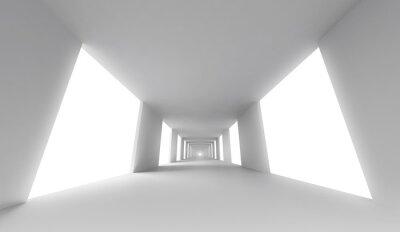 Obraz Pusty biały korytarz. Architektura abstrakcyjna tła 3d