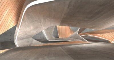 Obraz Pusty ciemny abstrakta beton i drewno gładkie wnętrze. Tło architektoniczne. Ilustracja 3D i rendering