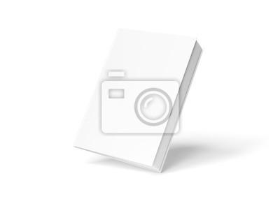 Obraz Pusty hardcover książki mockup unosi się na białym renderingu 3D