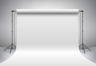 Obraz Pusty studio fotograficzne. Realistyczne szablonu 3D makiety. Tło statyw (statywy) z białym papierze tło. Szare tło.