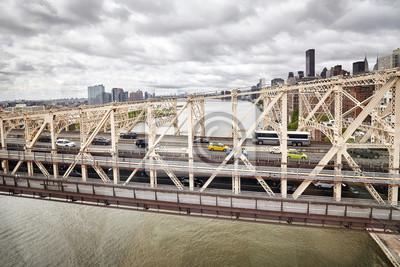 Queensboro most widzieć od wagonu kolei linowej Roosevelt wyspa, Nowy Jork, usa.
