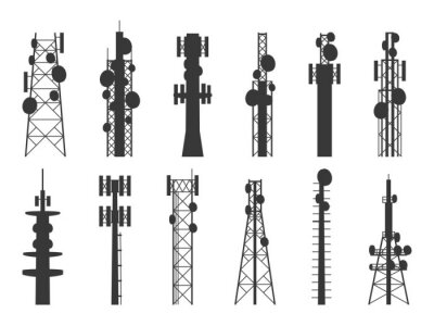 Obraz Radio tower silhouettes. Transmission cellular towers, television and broadcasting antenna, satellite signal telecom masts vector set