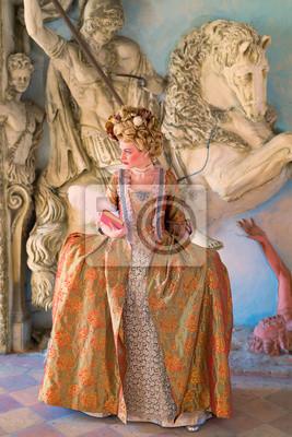 Obraz Ragazza con Vestiti Rinascimentali 1600 Libro