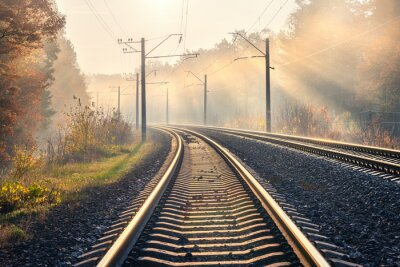 Railroad in beautiful forest in fog at sunrise in autumn. Colorful industrial landscape with railway platform, sky with gold sunbeams, trees in foggy morning in fall. Railway station. Transportation