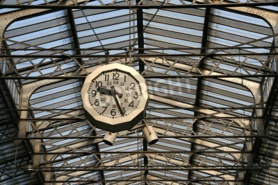 Obraz Railway station clock in Paris. Gare de L'Est.