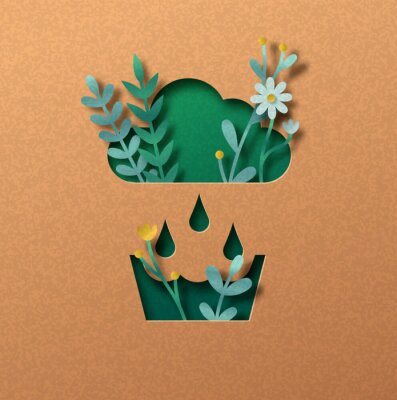 Obraz Rainwater recycling green paper cut nature concept