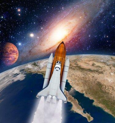 Obraz Rakieta transfer start statku Milky Way galaxy przestrzeń Mars planeta księżyc. Elementy tego zdjęcia dostarczone przez NASA.