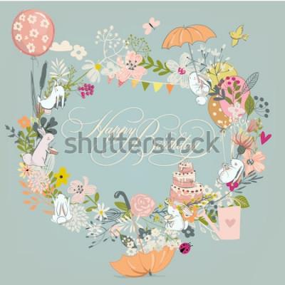 Obraz rama urodziny z kwiatami i zajęcy