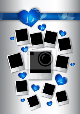 Ramki wektora zdjęcia z niebieskimi serca dla zakochanych